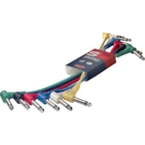 Stagg SPC015LE 0.15 Metre Angled Jack Patch Cables 6-Pack Multi Colour