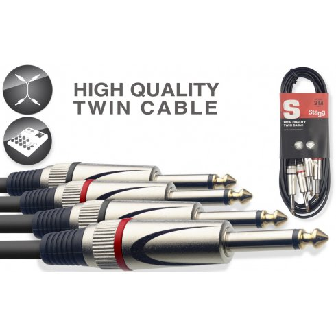 """Stagg 3m/10ft 2x1/4"""" Jack - 2x1/4"""" Jack Twin Cable"""