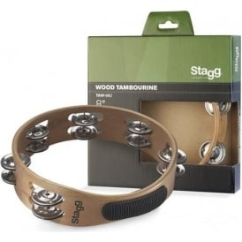 "Stagg TAW-082 8"" Headless Wooden Tambourine 2 Row Jingles"