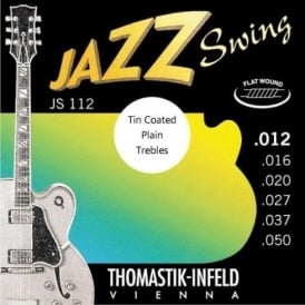 Thomastik JS112T Jazz Swing Flatwound 12.50 Electric Guitar Strings + Tin Plated Plain Strings
