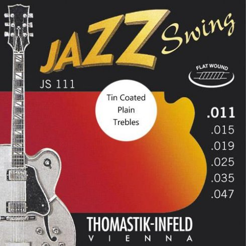 Thomastik-Infeld Thomastik JS111T Jazz Swing Flatwound 11-47 Electric Guitar Strings + Tin Plated Plain Strings