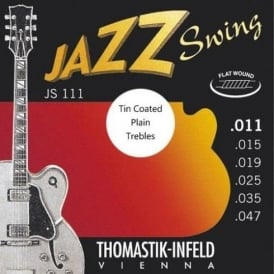 Thomastik JS111T Jazz Swing Flatwound 11-47 Electric Guitar Strings + Tin Plated Plain Strings