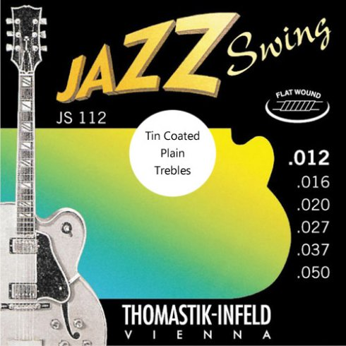 JS112T Jazz Swing Flatwound 12.50 Electric Guitar Strings + Tin Plated Plain Strings