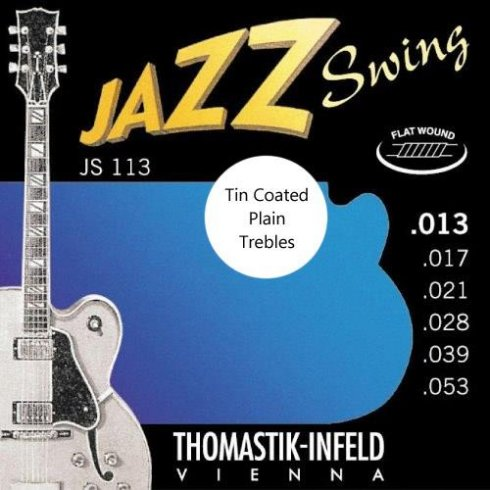 Thomastik-Infeld Thomastik JS113T Jazz Swing Flatwound 13-53 Electric Guitar Strings + Tin Plated Plain Strings
