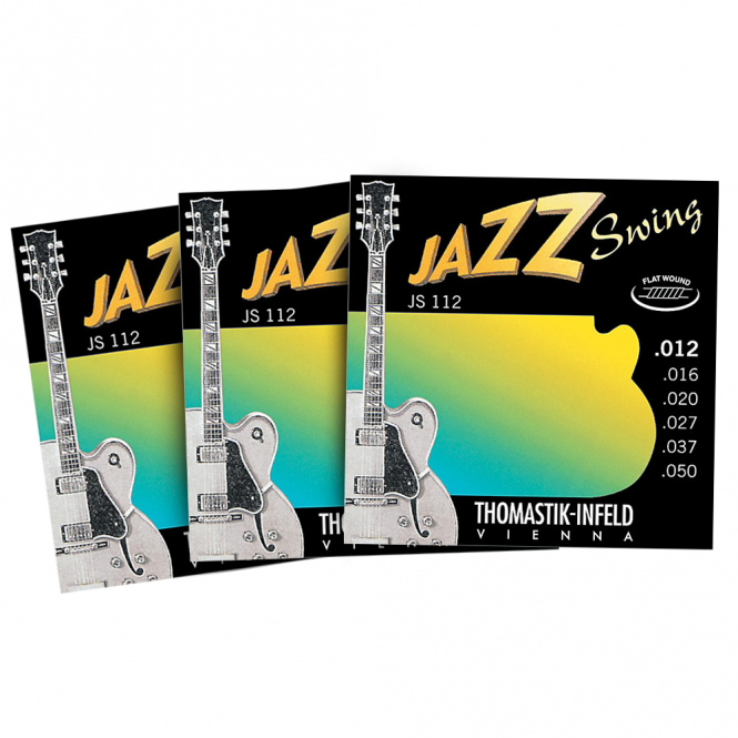 JS112 Jazz Swing Flatwound 12-50 Electric Guitar Strings, 3-Pack