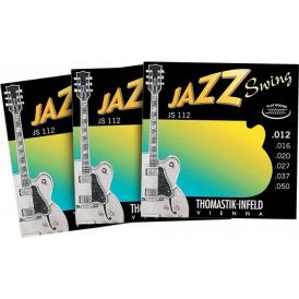 Thomastik JS112 Jazz Swing Flatwound 12-50 Electric Guitar Strings, 3-Pack