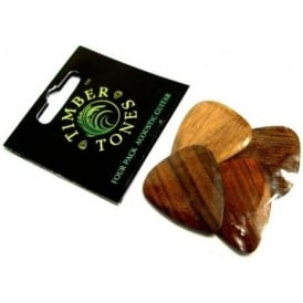 Timber Tones Exotic Wood Plectrum Pack for Acoustic Guitar 4-Pack