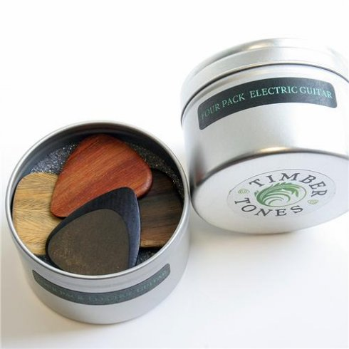 Timber Tones Exotic Wood Plectrum Tin for Electric Guitar 4-Pack