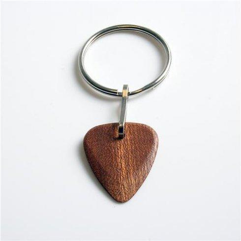 Timber Tones Exotic Wood Single Plectrum African Sapele Key Rings