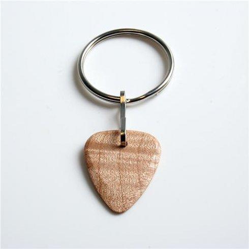 Timber Tones Exotic Wood Single Plectrum Curly Maple Key Ring