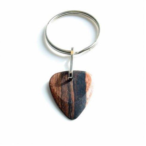 Timber Tones Exotic Wood Single Plectrum Macassar Ebony Key Ring