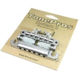 TonePros LPCM04 Standard Tune-o-Matic and Tailpiece Set, Small Posts and Notched Saddles, Chrome