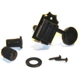 TonePros 6-in-line Locking Machineheads Black w/ Matching Metal Button & Bolt Bushing