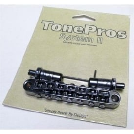 TonePros TP-7 7-String Metric Bridge, Large Posts, Notched Saddles / Black